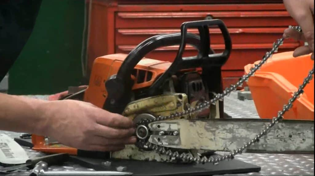 chainsaw chain replacement - put chain on