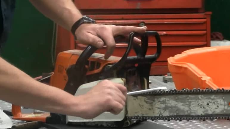 chainsaw chain replacement - test chain brake